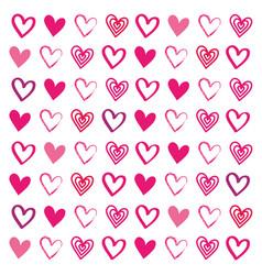 love heart drawn brush design seamless pattern vector image