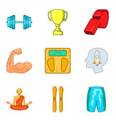 meditation icons set cartoon style vector image vector image