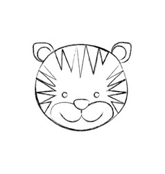 Monochrome blurred contour with male tiger head vector