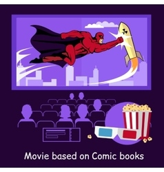 Movie based on comic books banner vector