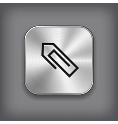 Paper clip icon - metal app button vector