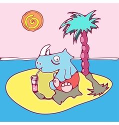Rhinoceros has a rest on the island vector
