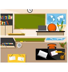 school classroom with chalkboard vector image vector image