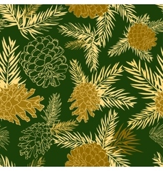 Seamless pattern with fir-cone Christmas tree vector image