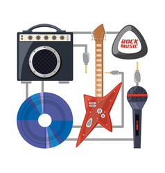 Set electric guitar with amplifier speaker cd and vector