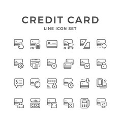 set line icons of credit card vector image vector image