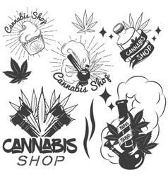 Set of medical marijuana labels in vintage vector