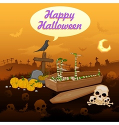Skelton in Halloween night vector image vector image