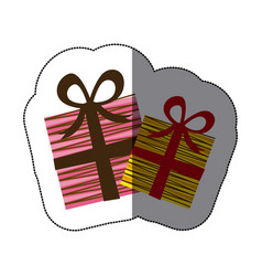 sticker colorful set collection striped gift box vector image vector image