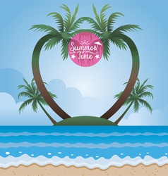 Summer sea and coconut palm tree on island frame vector