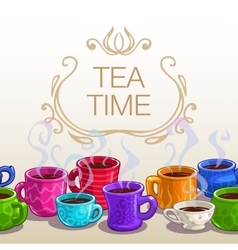Tea time square banner vector