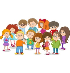 School kids group cartoon vector