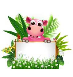 Funny hippo with blank sign vector