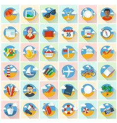 Flat design travel icons vector