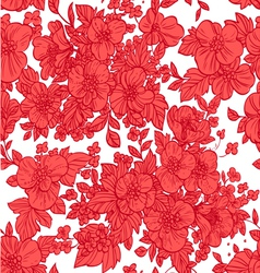Beautiful seamless pattern of wild scarlet flowers vector