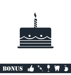 Birthday cake icon flat vector