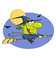 Witch Flying By Bats And A Full Moon On A Broom vector image