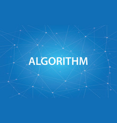 Algorithm white text with blue vector
