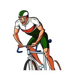 Close-up of man riding bicycle vector