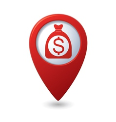 Dollar in bag icon red map pointer vector
