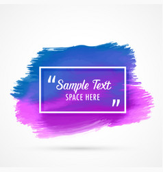 Blue purple watercolor stain background with text vector