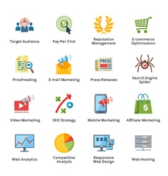 Seo and internet marketing flat icons - set 3 vector