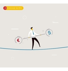 Businessman walking on tightrope balancing vector