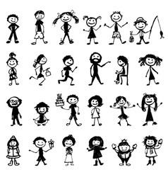 24 drawing peoples vector image