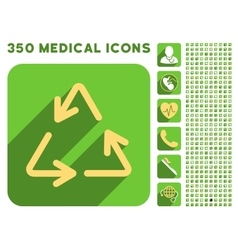 Recycle arrows icon and medical longshadow icon vector