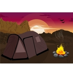 Mountain landscape with camping tent and campfire vector