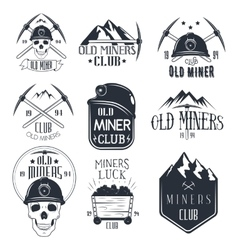 Set of mining labels in vintage style gold vector