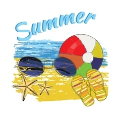 Background summer with letteringball sunglasses vector