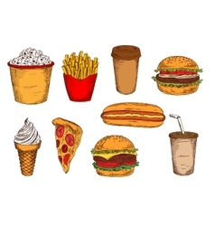 Sketched fast food lunch with drinks and ice cream vector
