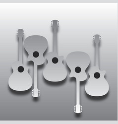 An array of abstract acoustic guitars in light and vector