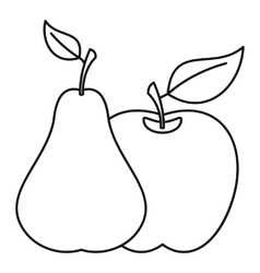 Apple and pear icon outline style vector