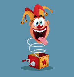 April fools day jester box surprise vector