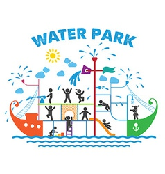 Aqua park flat vector image