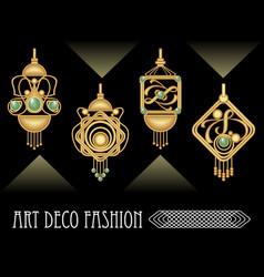 art deco earrings collection luxury golden jewel vector image vector image