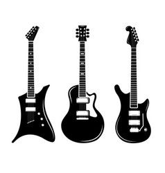 Black guitar icons acoustic and electric vector