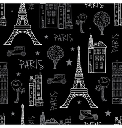 Black White Paris Streets Travel Seamless vector image vector image