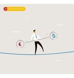 Businessman walking on tightrope balancing vector image