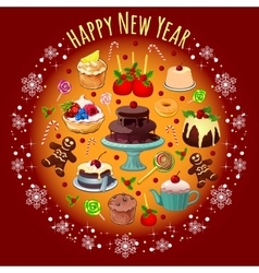 Card with treats and greetings for the new year vector image vector image