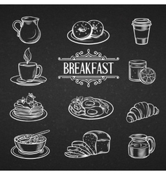 Decorative hand drawn icons breakfast foods vector