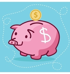 Fat piggy bank coin insert drawing flat fun vector