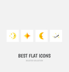 Flat icon bedtime set of nighttime moon night vector