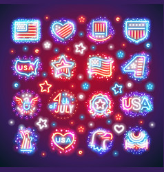 Fourth of july signs with sparkles vector