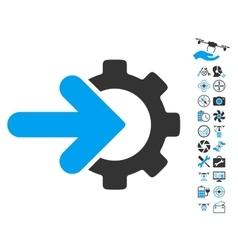 Gear integration icon with air drone tools bonus vector
