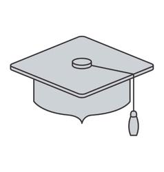 Gray silhouette of graduation cap vector