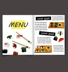 japanese cuisine restaurant menu template vector image