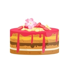 Layered cake with flowers and different creams vector